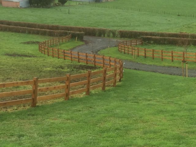 Examples of completed rail post fencing — beams timber nz